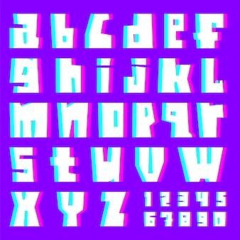Glitch alfabet, letters en cijfers