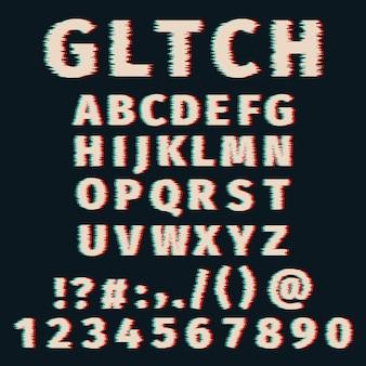 Glitch alfabet vervormde letters en cijfers. ingesteld met gebroken pixeleffect, oud vervormd tv-matrixeffect.