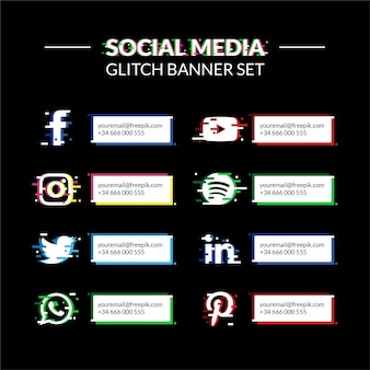 Glitch-bannerset voor sociale media