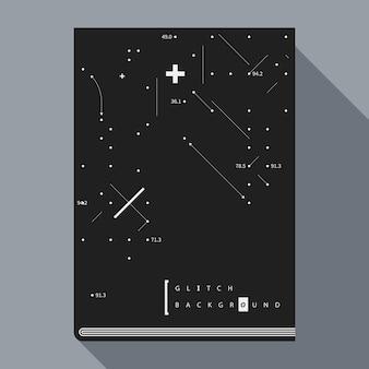 Glitch boek poster ontwerpsjabloon met eenvoudige geometrische ontwerpelementen