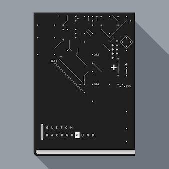 Glitch boekomslag / poster ontwerpsjabloon met eenvoudige geometrische ontwerpelementen.
