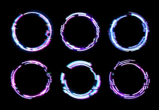 Glitch cirkelframes met neonlichtranden en digitale pixelruiseffecten op een donker tv-scherm