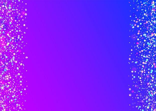 Glitch confetti. carnaval-illustratie vervagen. roze retro achtergrond. caleidoscoop textuur. transparant klatergoud. fantasie kunst. disco flare. eenhoorn folie. violet glitch confetti