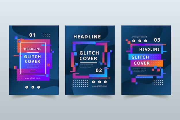 Glitch cover set grafisch ontwerp