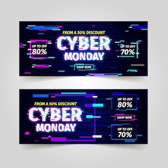 Glitch cyber maandag banners collectie