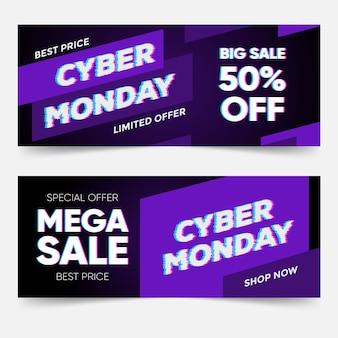 Glitch cyber maandag banners sjabloon