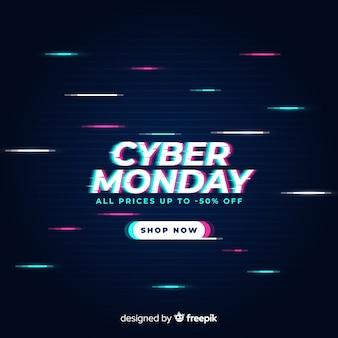 Glitch cyber maandag ontwerp voor reclame