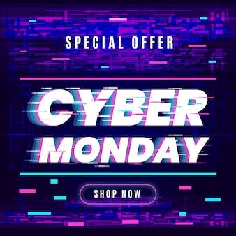 Glitch cyber maandag ontwerp
