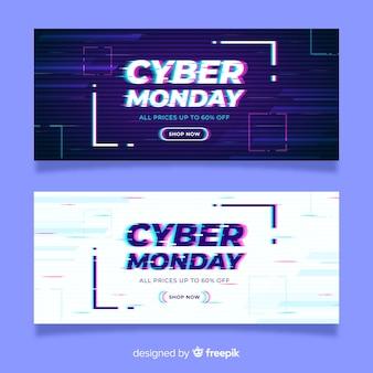 Glitch effect cyber maandag banners sjabloon