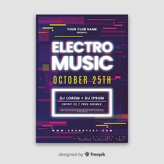 Glitch effect elektronische muziek poster sjabloon