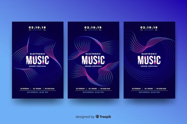 Glitch effect muziek poster sjabloon