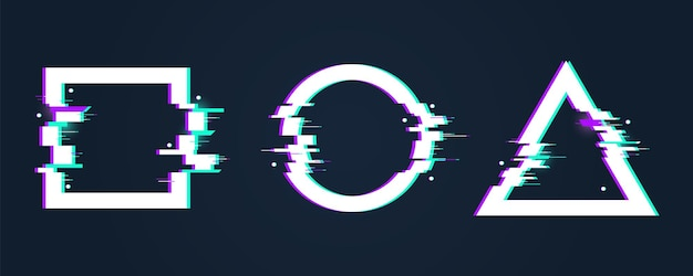Glitch-effectframes. cirkel vervormde vorm. digitale gebroken driehoek en vierkant met fout