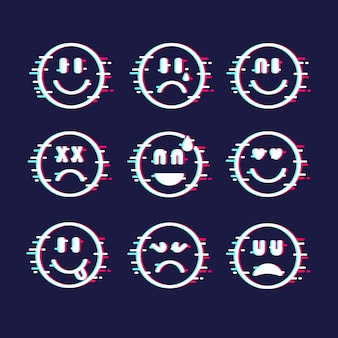 Glitch emoji-collectie
