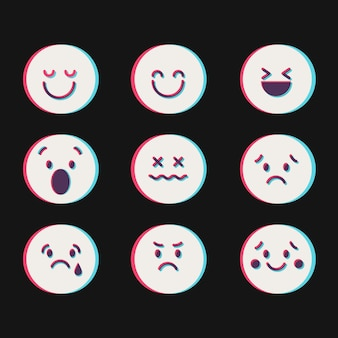 Glitch emoji-iconencollecties Gratis Vector