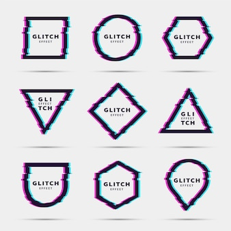 Glitch geometrische vormen ingesteld