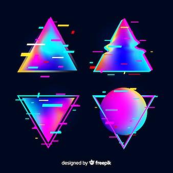 Glitch gradiënt driehoek set