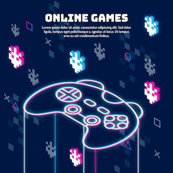 Glitch illustratie van het online spelenconcept