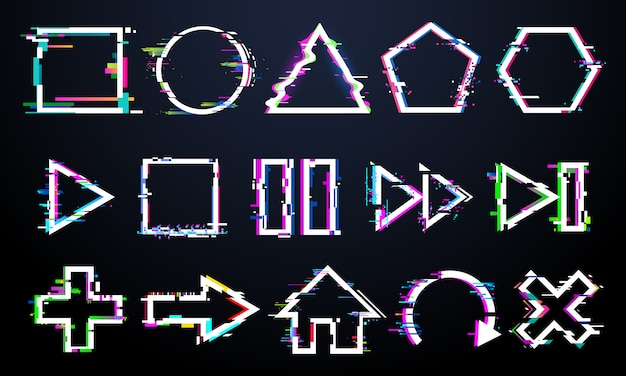Glitch-knoppen, glitched minimale frames, muziekbedieningspictogrammen met digitale ruis, play, pauze en terugspoelen getextureerde knopenset