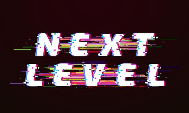 Glitch lettertype. volgende niveau vervormde tv glitched scriptscherm illustratie