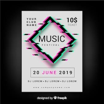 Glitch muziekfestival poster sjabloon