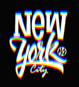 Glitch new york city-label, typografisch ontwerp.