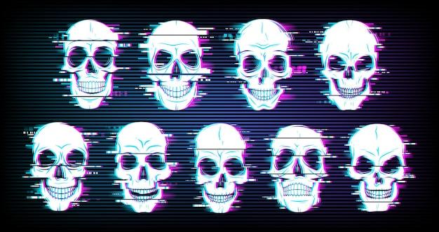Glitch-schedels vervormden neon gloeiende pixelachtige schedels of vrolijke roger