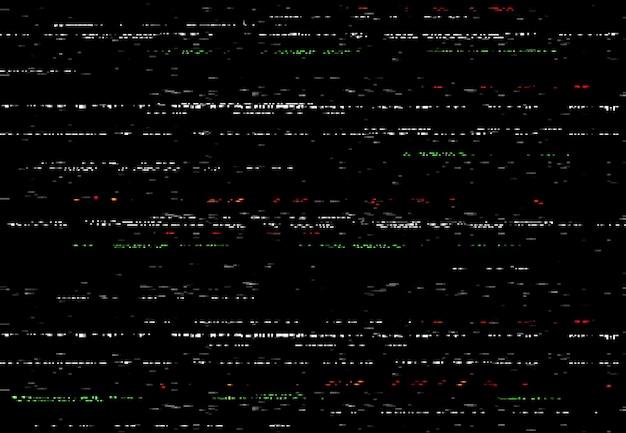 Glitch vhs-scherm, video-glitch-effect met willekeurige lijnen en ruis. abstracte vectorvervorming, beschadigde camerafilm of digitale videosysteem zwarte achtergrond, horizontale vervormde strepen, geen signaal