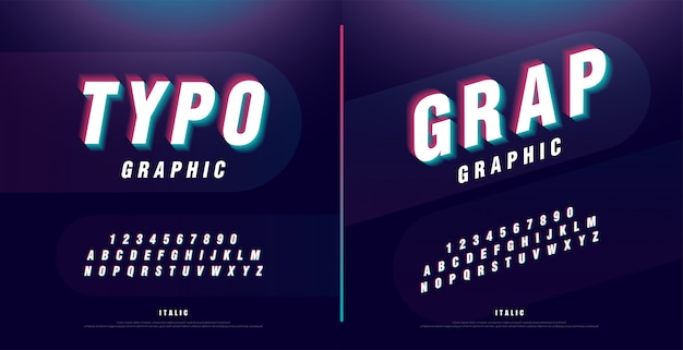 Glitched alfabet lettertype. kop, logo, cursief