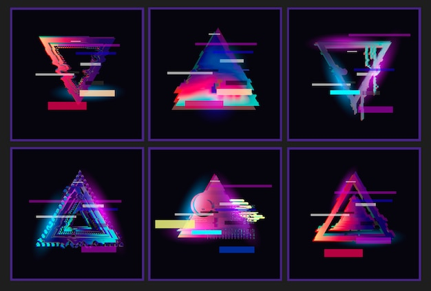 Glitched triangle frame design-set.