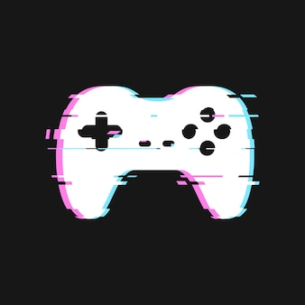 Glitched van gamepad-illustratie. geïsoleerde joystick met geluidseffecten op een donkere achtergrond