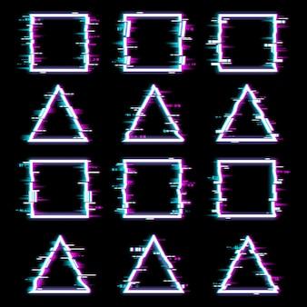 Glitchframes vervormden neon gloeiende korrelige randen van driehoekige en vierkante vormen