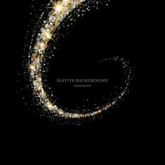 Glitter achtergrond luxe gouden stardust licht Premium Vector