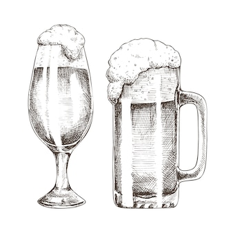 Glitter ale goblets en foamy beer graphic art