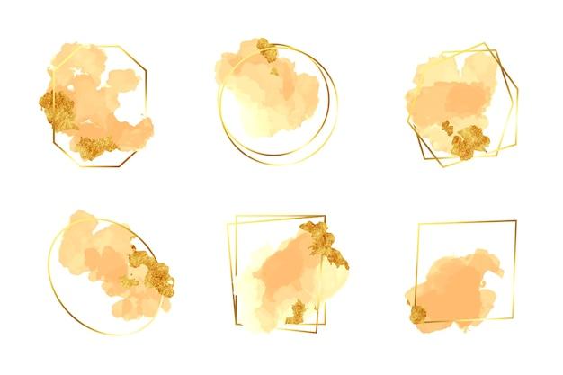 Glitter frame ingesteld met aquarel penseelstreken