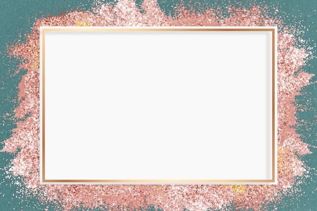 Glitter frame vector roze sprankelende achtergrond