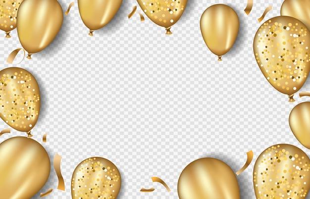 Glitter gouden ballonnen frame sjabloon Premium Vector