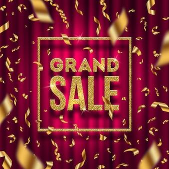 Glitter gouden grote verkoop bord en vallende gouden folie confetti op een rood gordijn achtergrond. illustratie.
