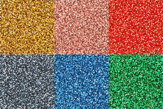 Glitter naadloze patroon set glanzende naadloze kleurrijke achtergronden met glinsterende textuur