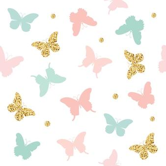 Glitter, pastel roze en blauwe vlinders naadloze patroon.