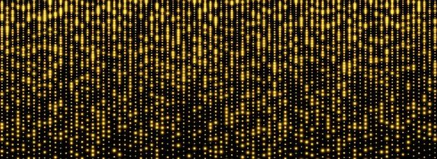 Glitter regen, gouden sterrenstof, felgele sparkles geïsoleerd op een donkere achtergrond.