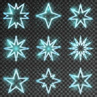 Glitter sterren. heldere en glanzende decoratie kerst, twinkelende en sprankelende, vector illustratie