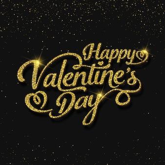 Glitter valentijnsdag belettering kaart