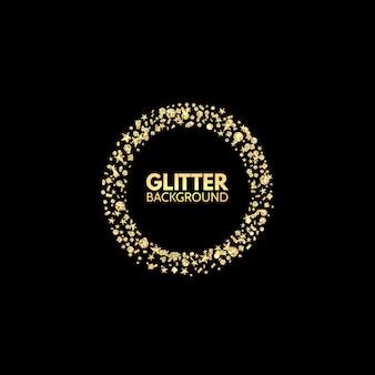 Glittercirkel. feestelijke gouden fonkelingsachtergrond