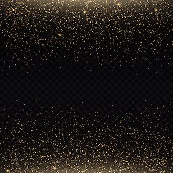 Glittereffect van deeltjes de stofvonken en gouden sterren schitteren met speciaal licht