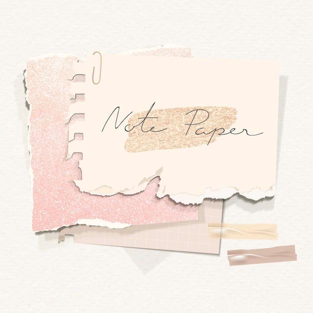 Glittery aardetoon notitiepapier sjabloon set