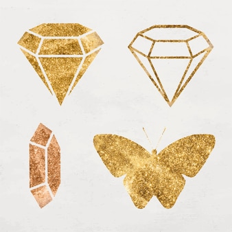 Glittery gouden diamant pictogramserie