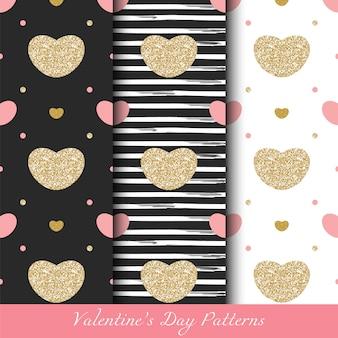 Glittery gouden valentijnsdag naadloze patronen