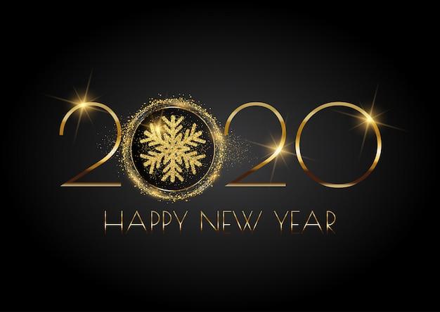 Glittery happy new year-achtergrond met sneeuwvlok