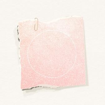 Glittery roze papieren notitiesjabloon