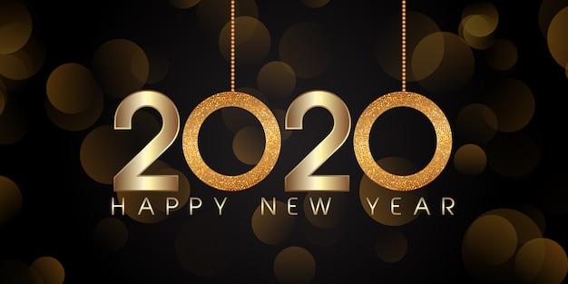Glittery stijl gelukkig nieuwjaar banner